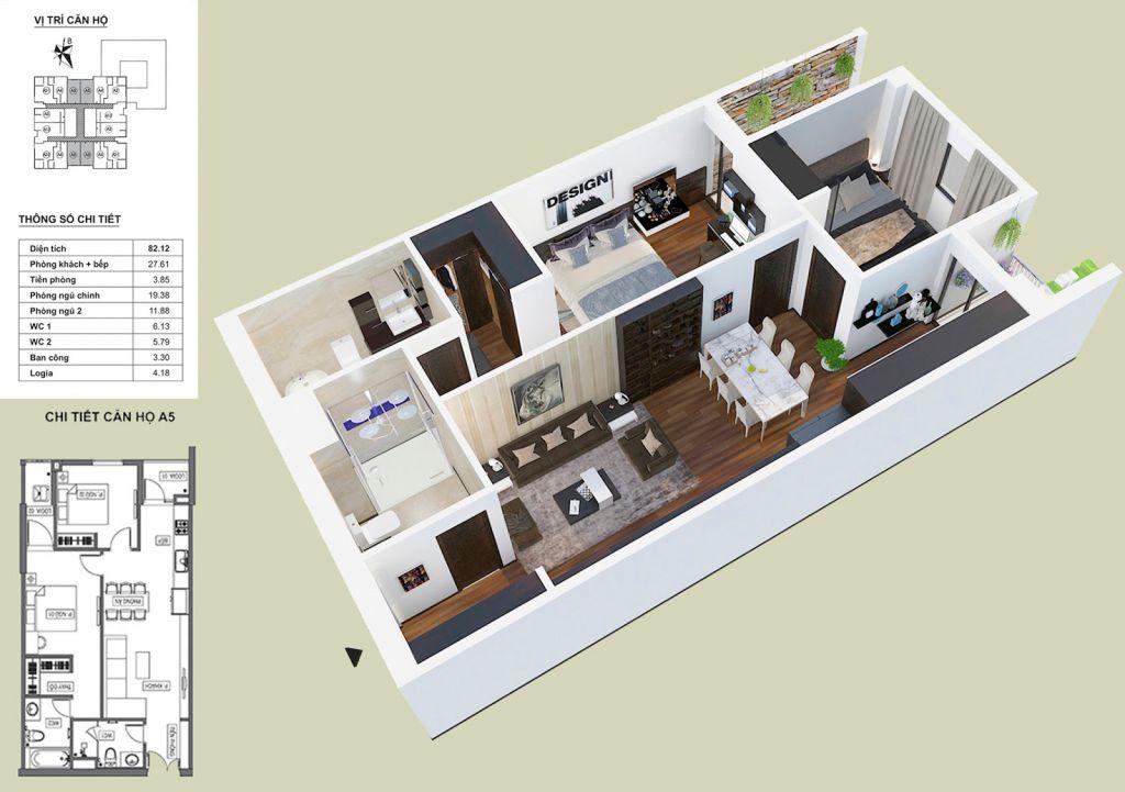 Thiết kế căn hộ A5 HPC Landmark 105
