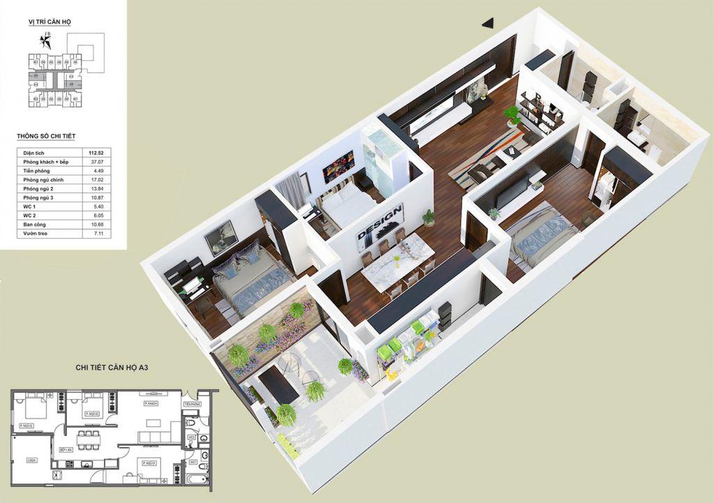 Thiết kế căn hộ A3 HPC Landmark 105