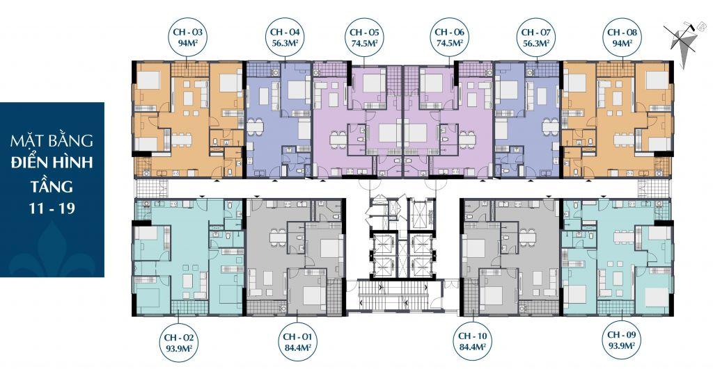 mặt bằng chung cư le capitole 27 thái thịnh