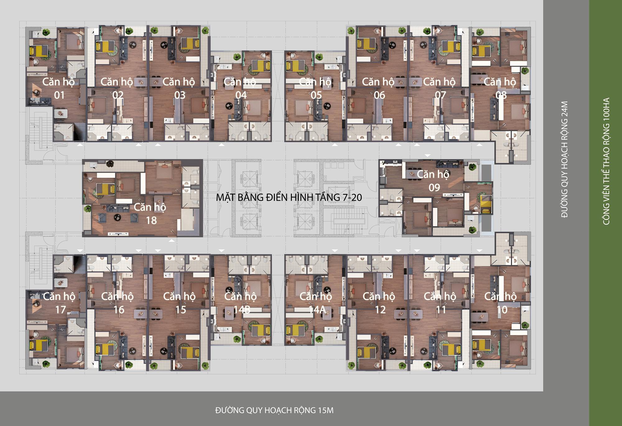 mặt bằng chung cư phú thịnh green park tầng 7-20