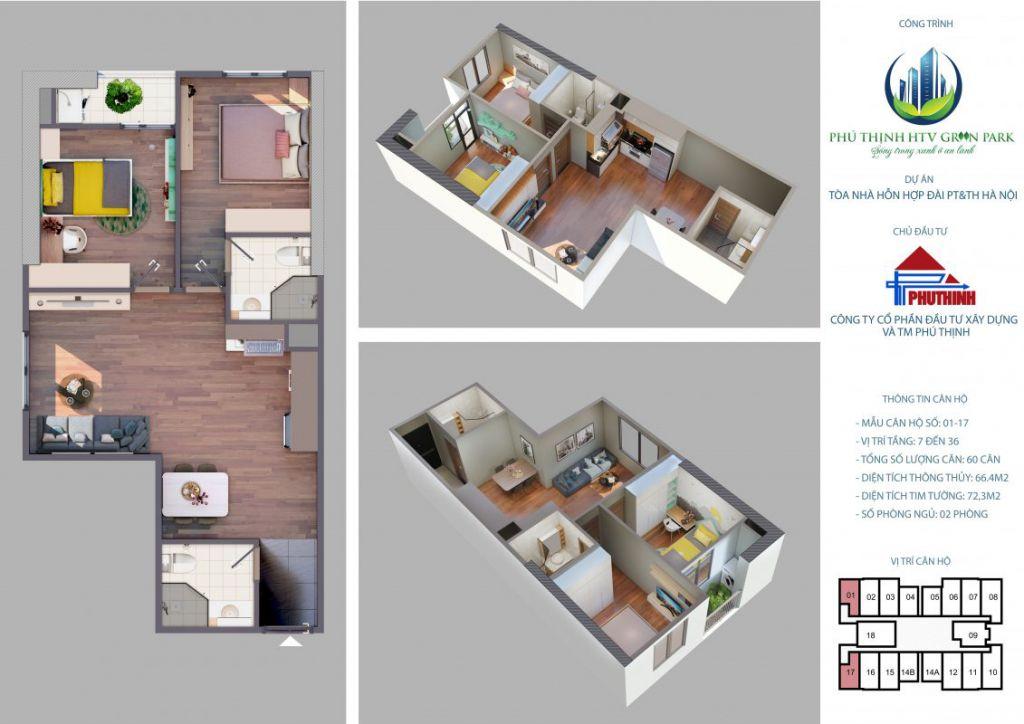 thiết kế căn hộ phú thịnh green park