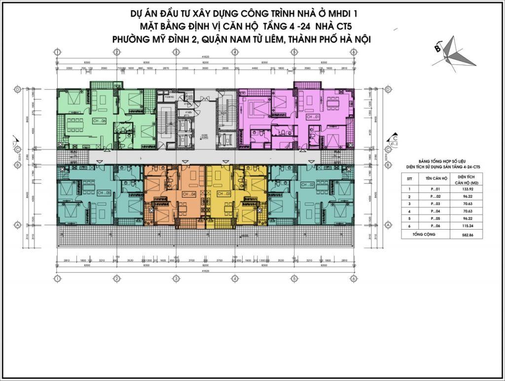 mặt bằng chung cư ct5 lê đức thọ tầng 4-24