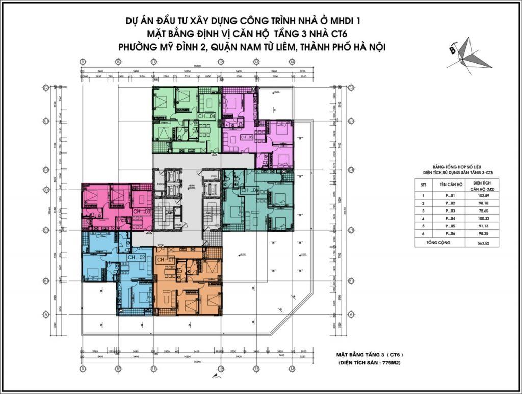 mặt bằng chung cư ct6 lê đức thọ tầng 3