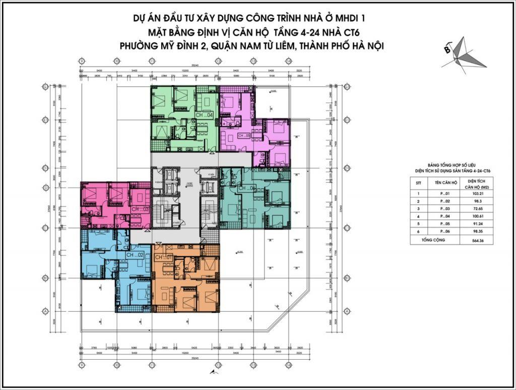 mặt bằng chung cư ct6 lê đức thọ tầng 4-24