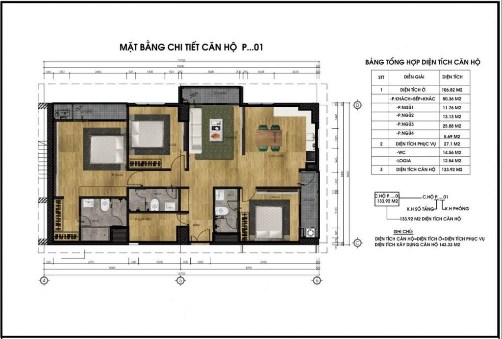 thiết kế chung cư ct5 lê đức thọ căn p1