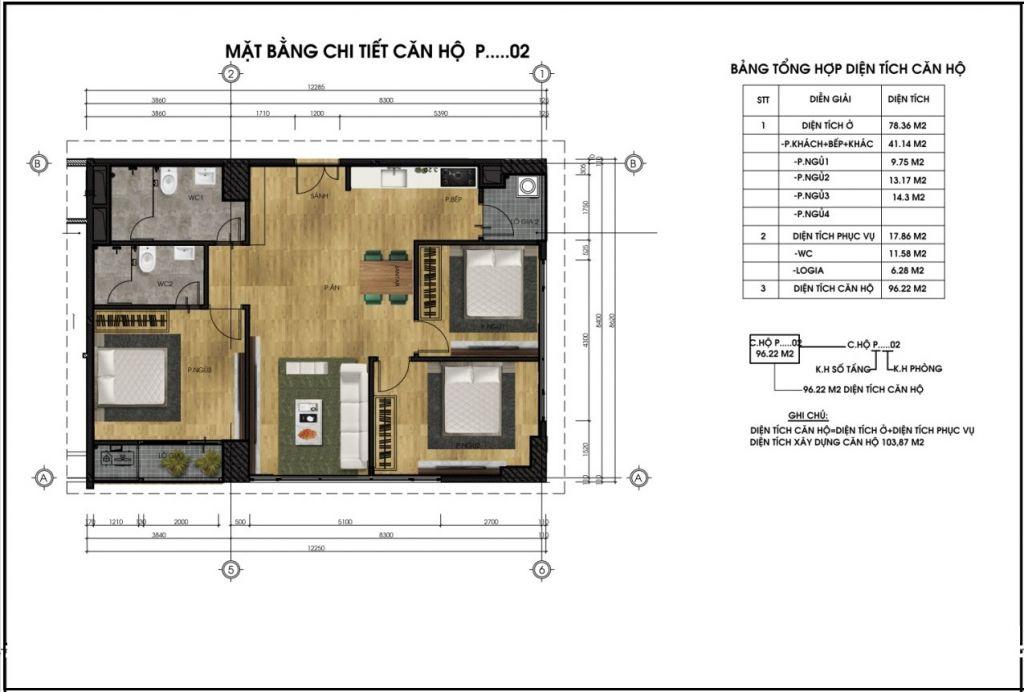 thiết kế chung cư ct5 lê đức thọ căn p2