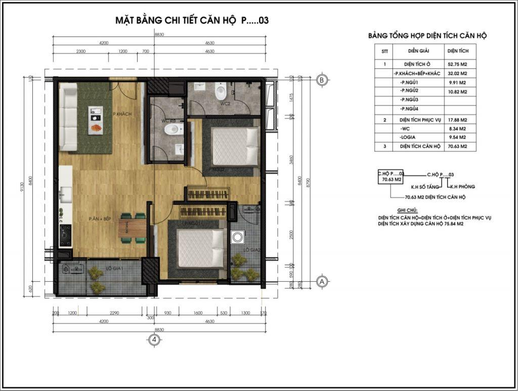thiết kế chung cư ct5 lê đức thọ căn p3