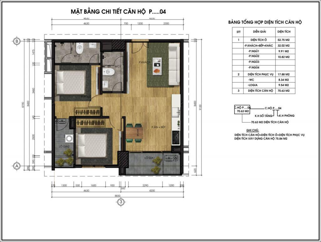 thiết kế chung cư ct5 lê đức thọ căn p4