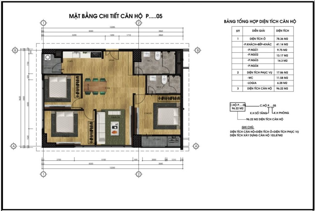 thiết kế chung cư ct5 lê đức thọ căn p5