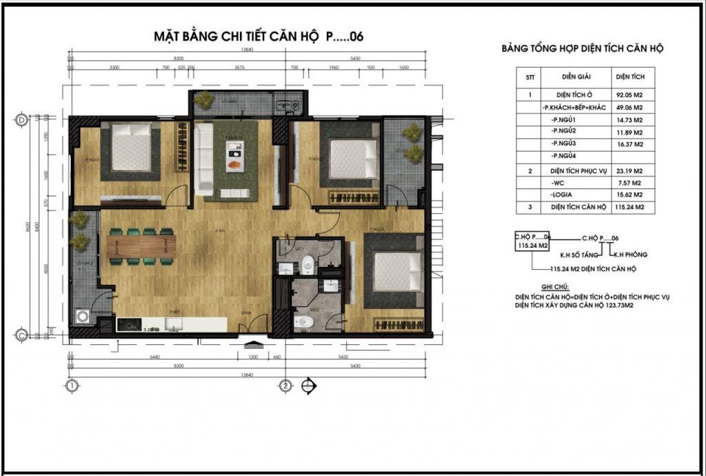 thiết kế chung cư ct5 lê đức thọ căn p6