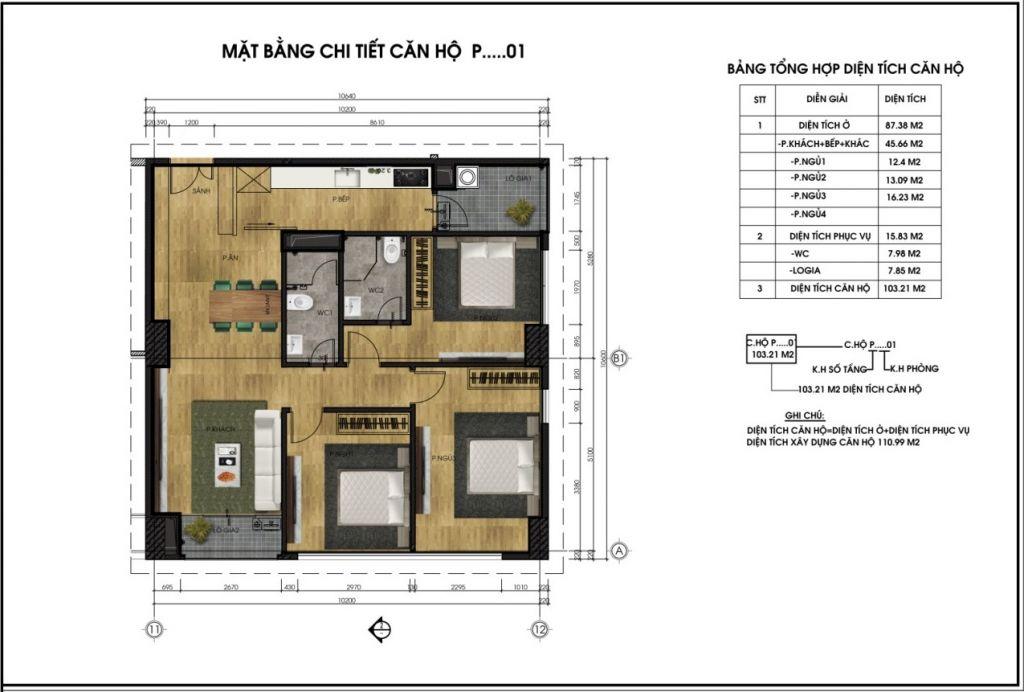 thiết kế chung cư ct6 lê đức thọ căn p1