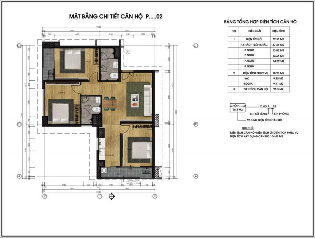 thiết kế chung cư ct6 lê đức thọ căn p2