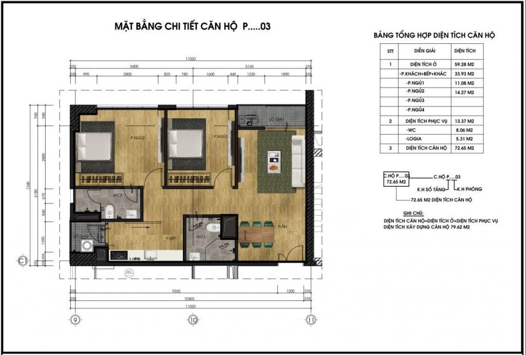 thiết kế chung cư ct6 lê đức thọ căn p3