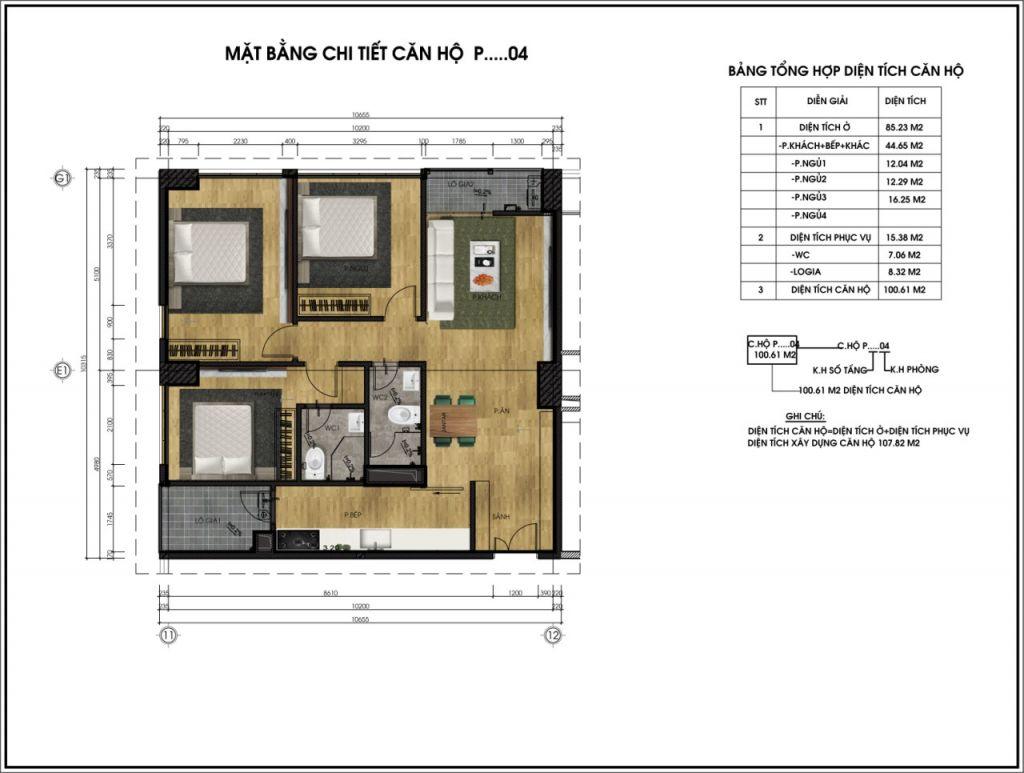 thiết kế chung cư ct6 lê đức thọ căn p4