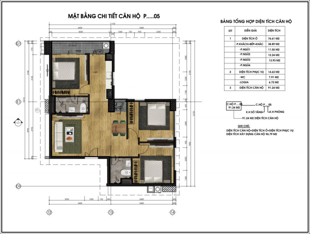 thiết kế chung cư ct6 lê đức thọ căn p5
