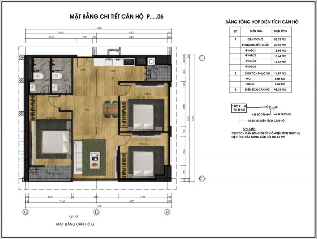thiết kế chung cư ct6 lê đức thọ căn p6