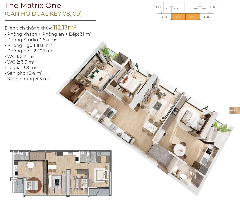 thiết kế chung cư the matrix one căn 08,09