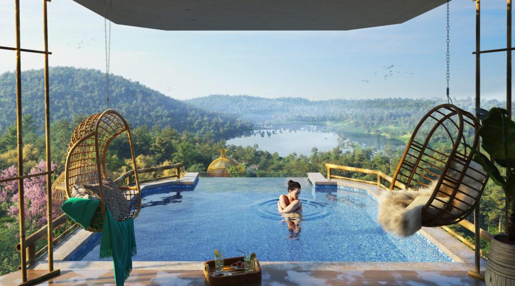 bể bơi biệt thự sakana resort hòa bình