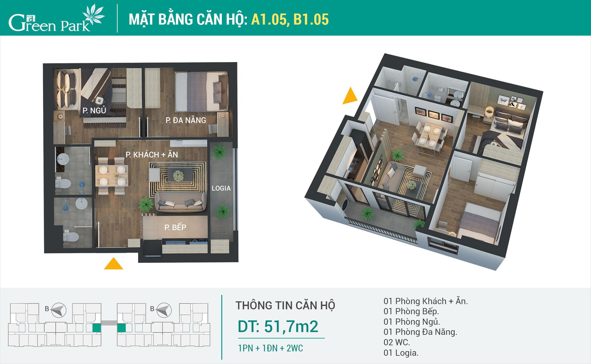 Mặt bằng căn hộ A1-05, B1-05
