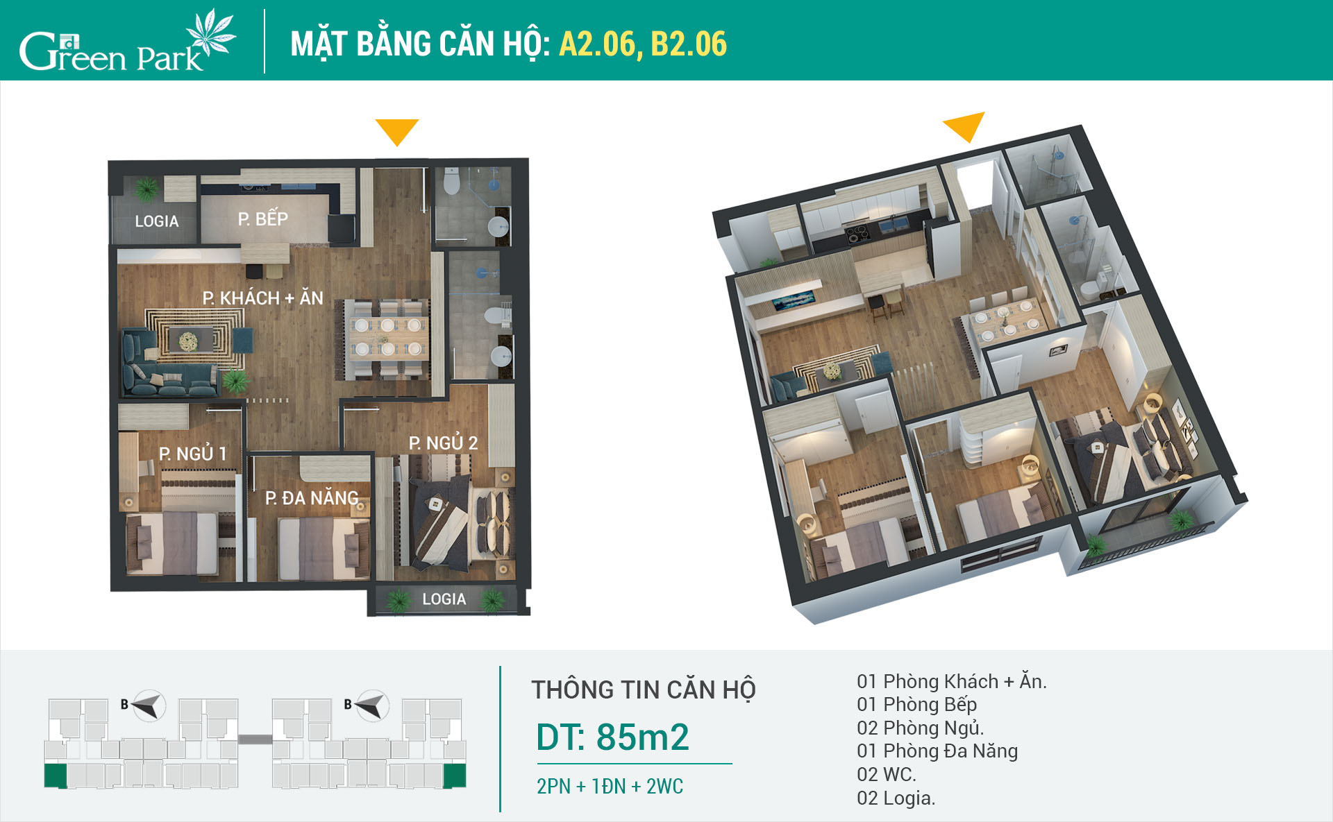 Mặt bằng căn hộ A2-06, B2-06