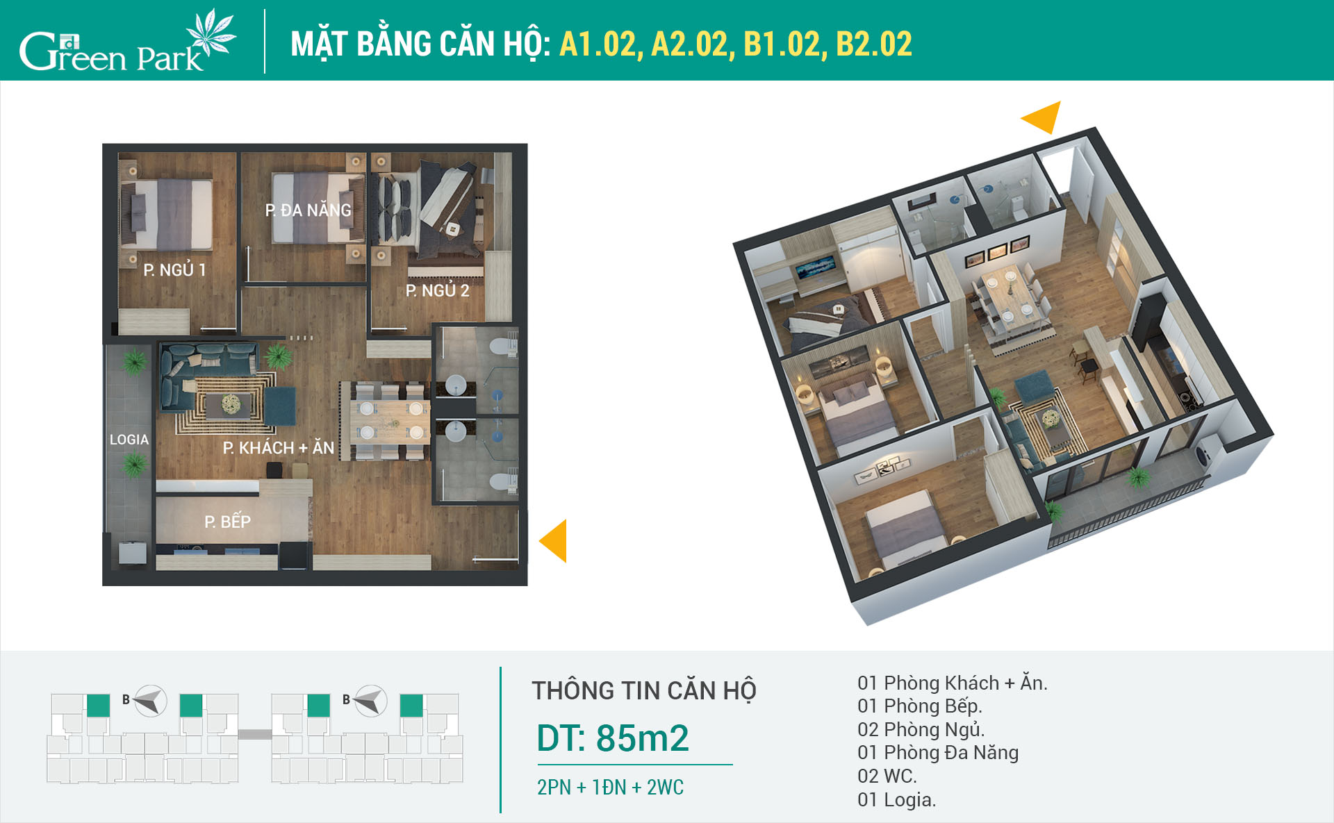 Mặt bằng căn hộ A1-02, A2-02, B1-02, B2-02