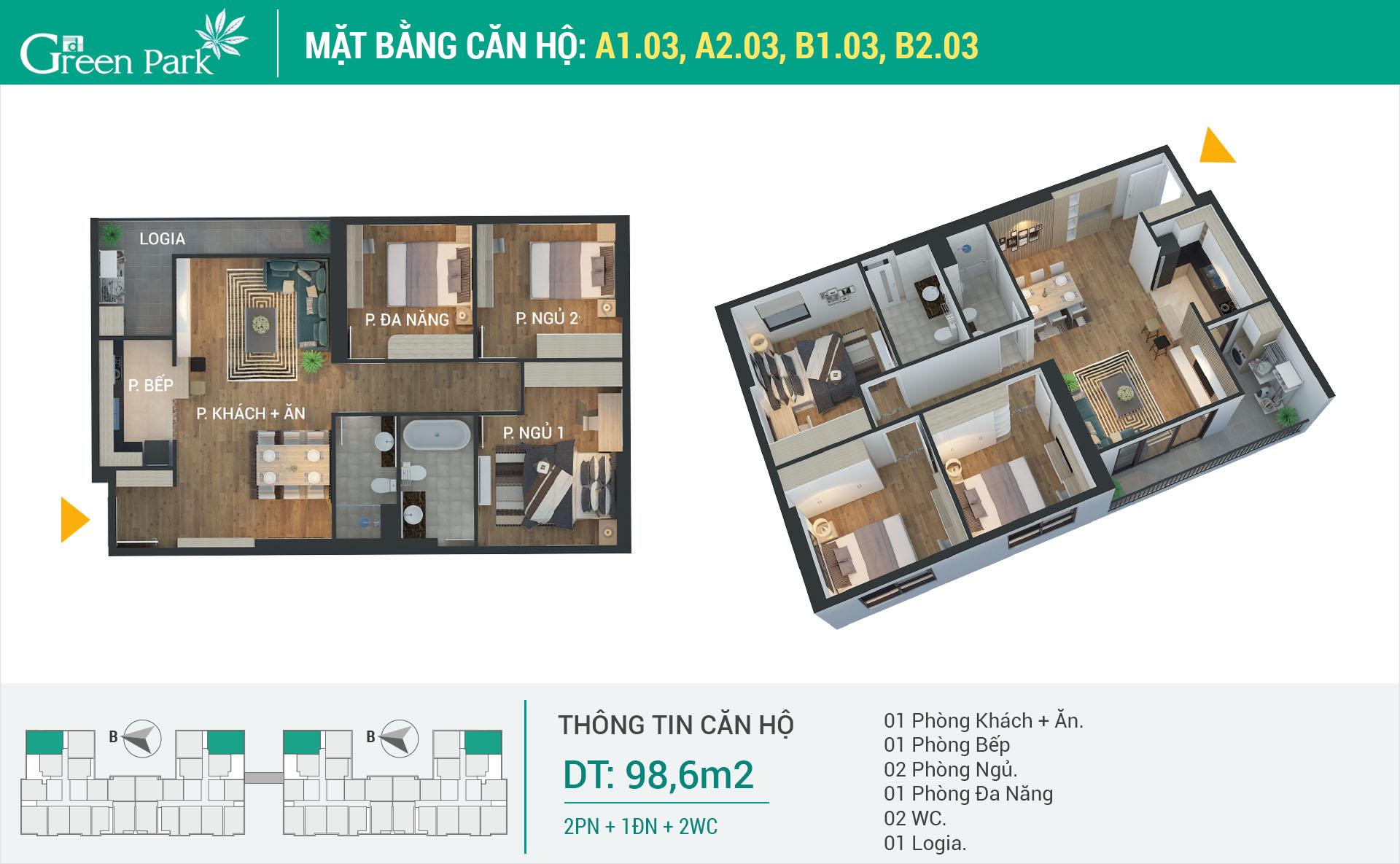 Mặt bằng căn hộ A1-03, A2-03, B1-03, B2-03