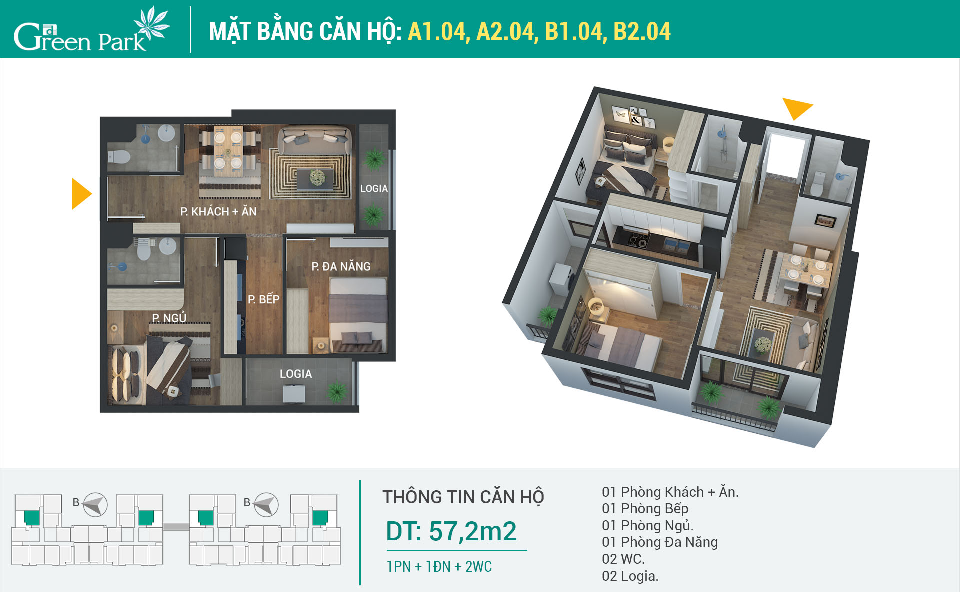 Mặt bằng căn hộ A1-04, A2-04, B1-04, B2-04