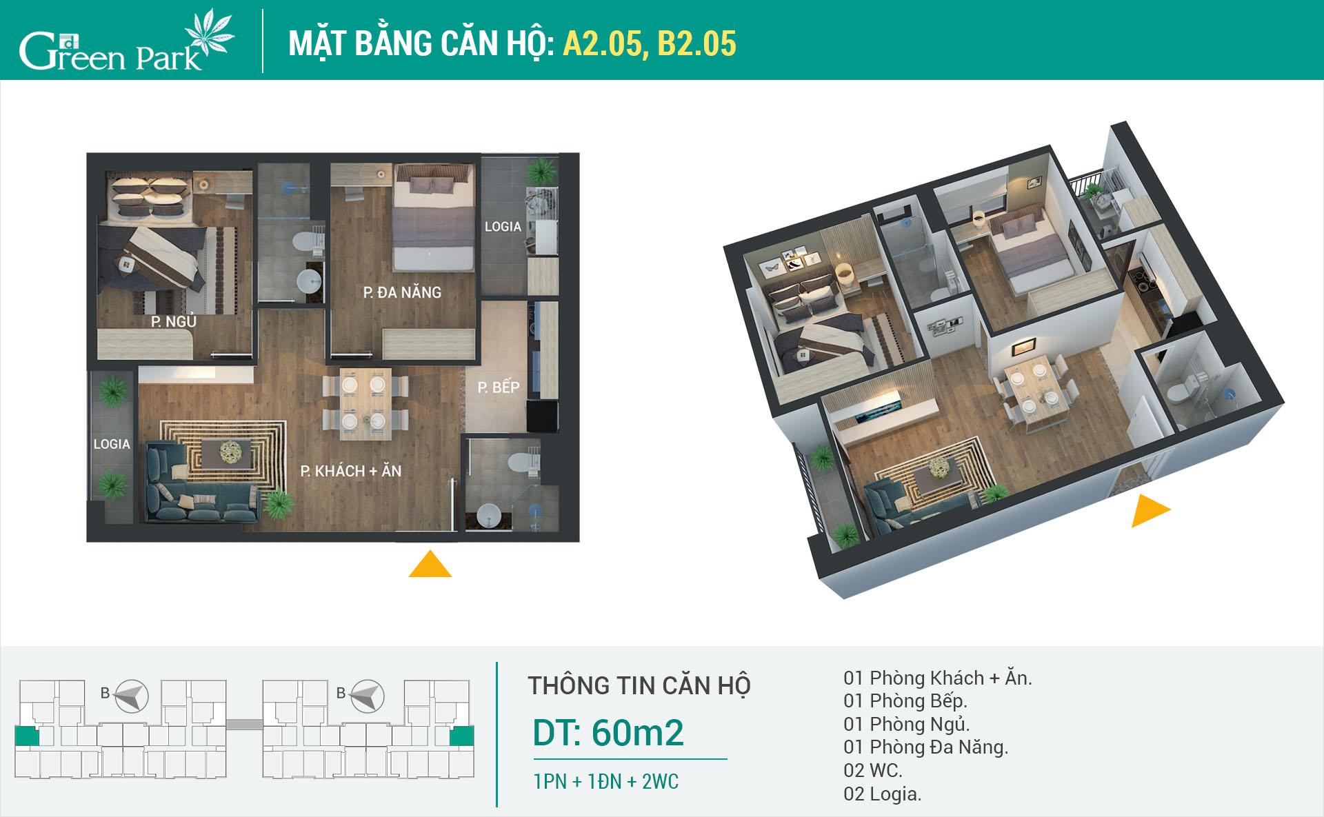 Mặt bằng căn hộ A2-05, B2-05