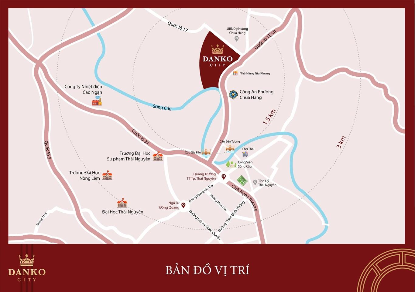 vị trí dự án danko city thái nguyên