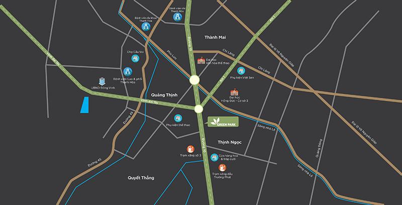 vị trí dự án green park quảng tân