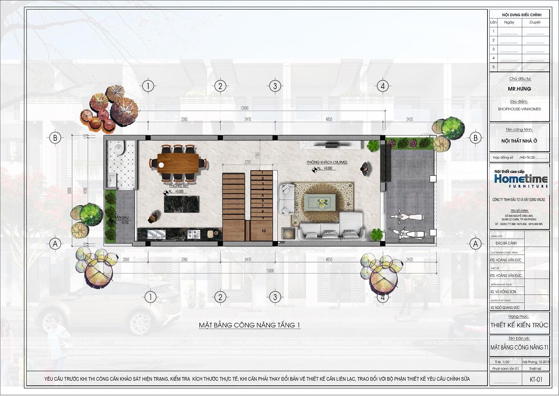 mặt bằng tầng 1 liền kề eco gardenia