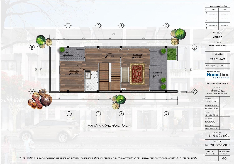 mặt bằng tầng 4 liền kề eco gardenia