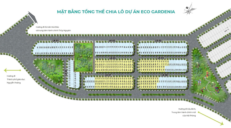 mặt bằng dự án eco gardenia thủy nguyên