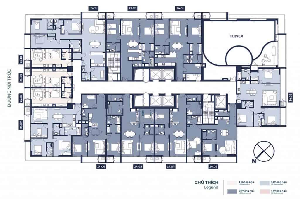 mặt bằng chung cư lancaster núi trúc tầng 24