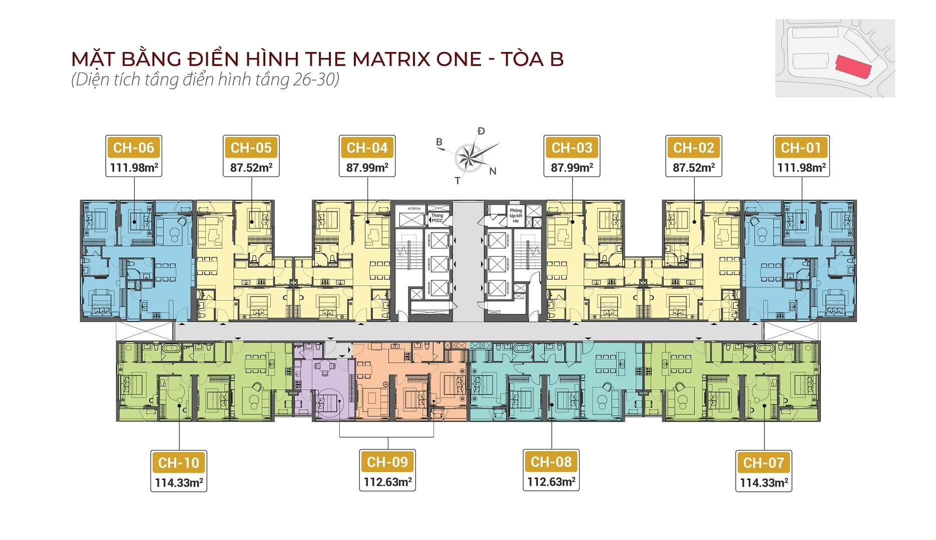 mặt bằng chung cư the matrix one tòa b