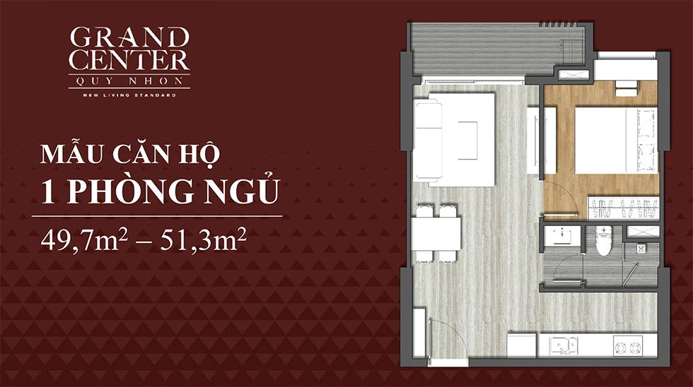 thiết kế căn hộ 1 ngủ dự án grand center quy nhơn