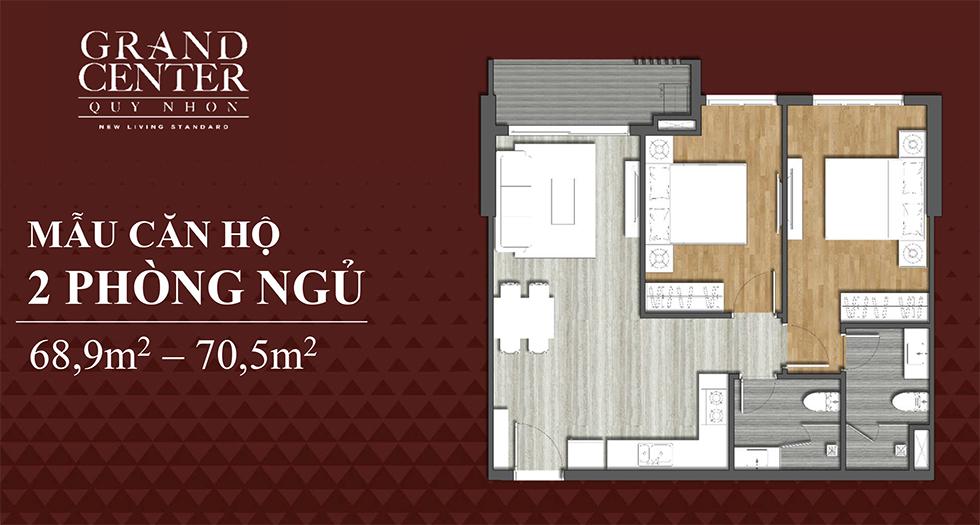 thiết kế căn hộ 2 ngủ dự án grand center quy nhơn
