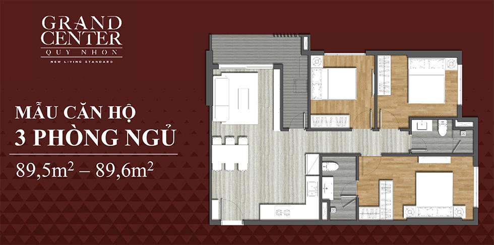 thiết kế căn hộ 3 ngủ dự án grand center quy nhơn