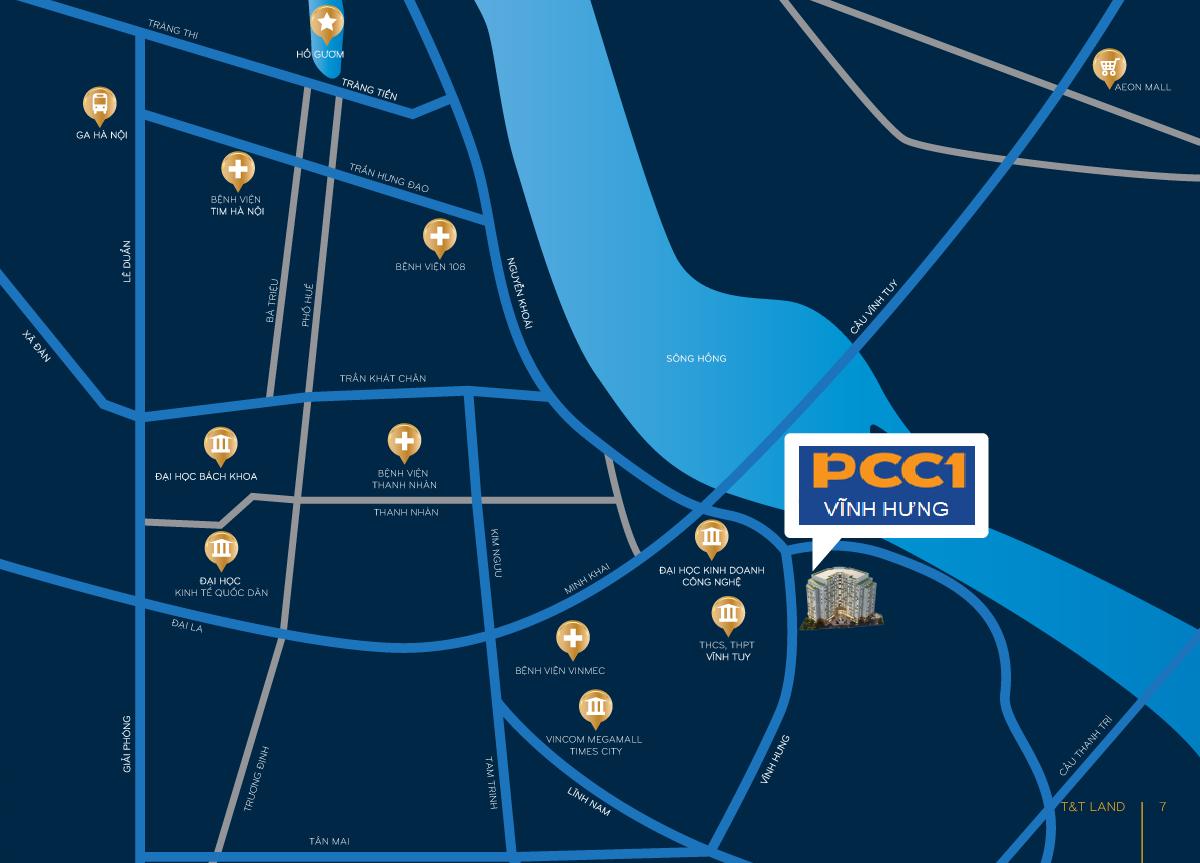 vị trí dự án pcc1 vĩnh hưng