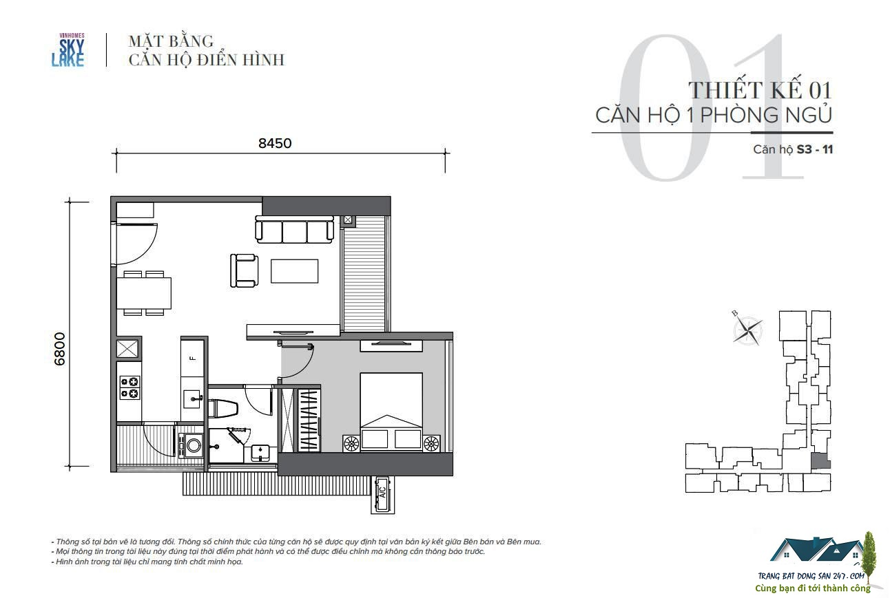 thiết kế căn hộ 1 ngủ