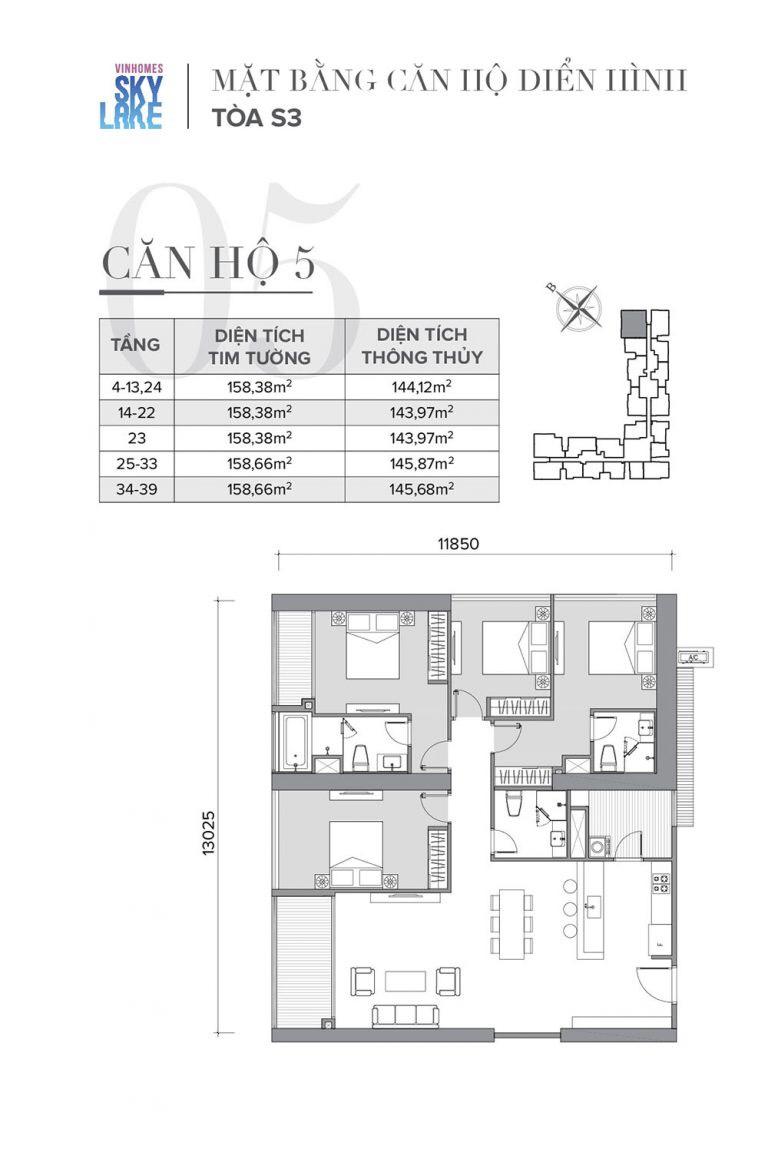 thiết kế căn hộ 4 ngủ