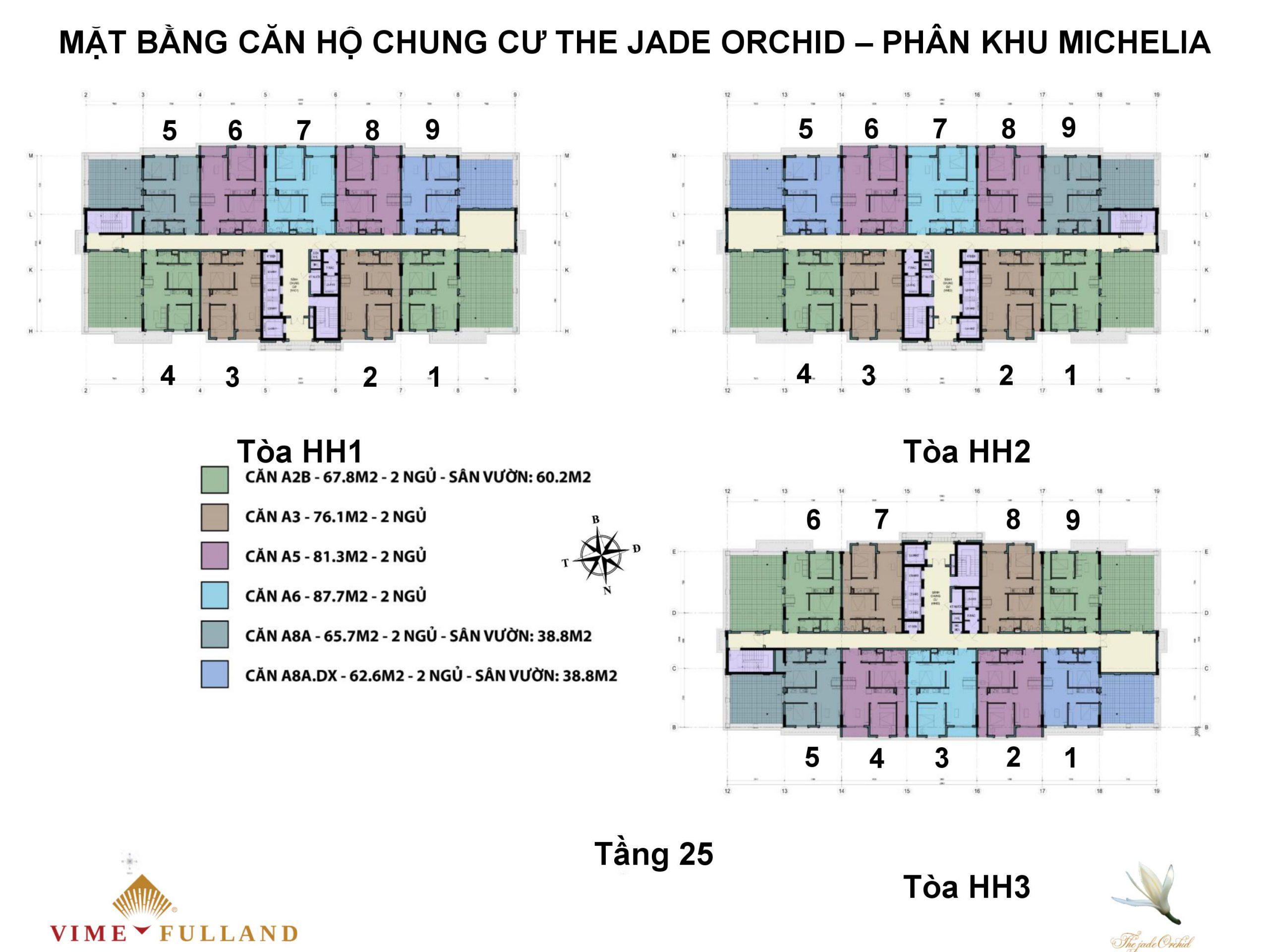 mặt bằng chung cư the jade orchi tầng 25