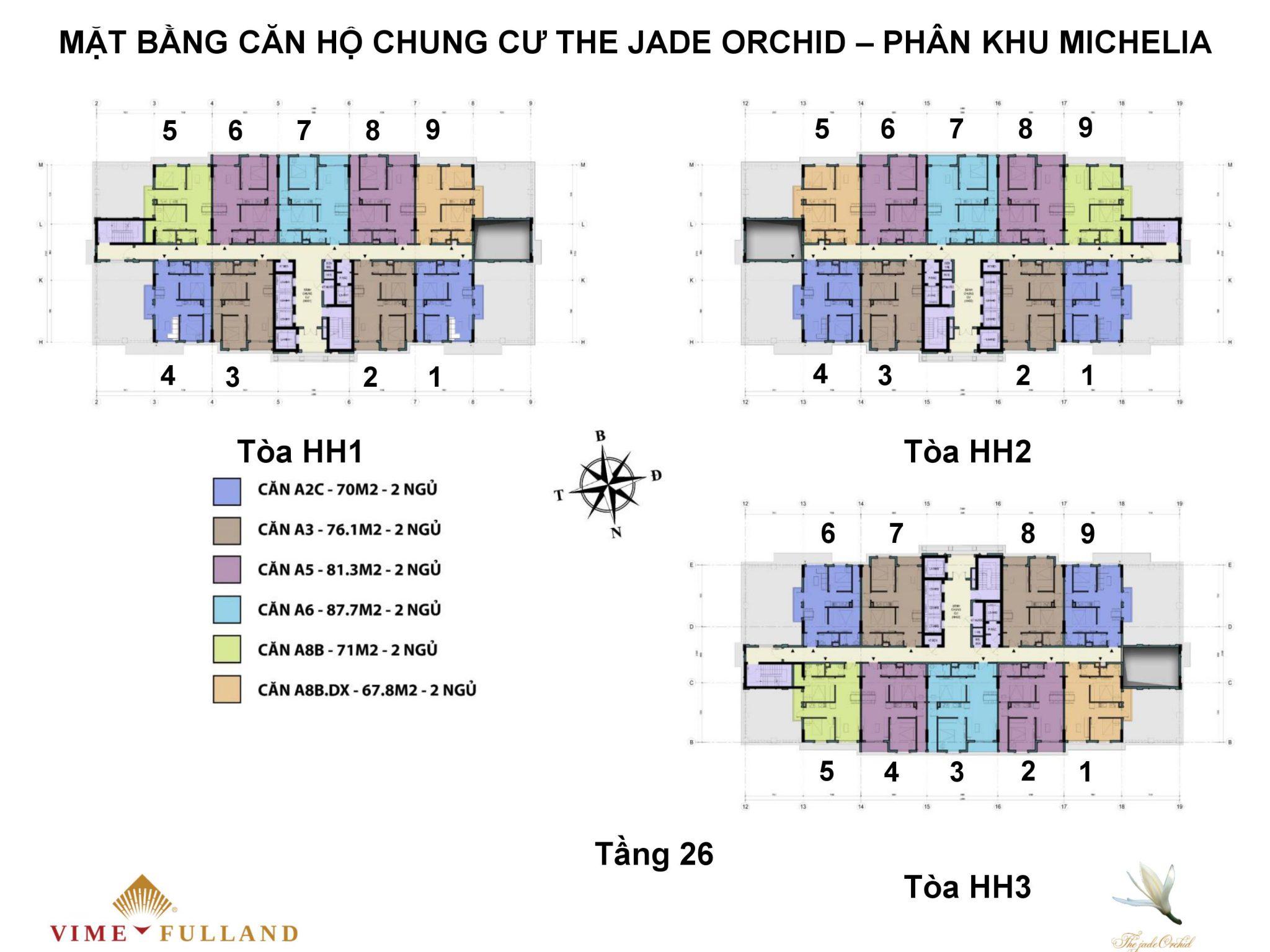 mặt bằng chung cư the jade orchi tầng 26