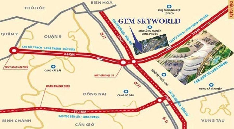 vị trí dự án gem sky world long thành