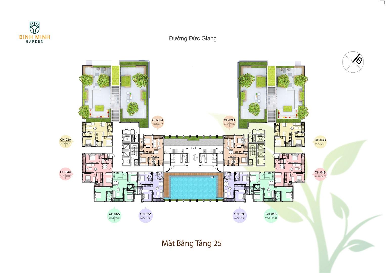 mặt bằng chung cư bình minh garden tầng 25