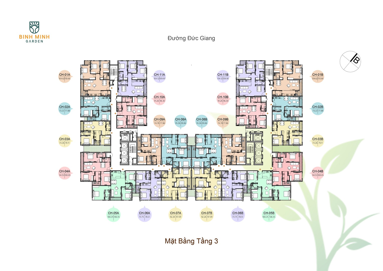 mặt bằng chung cư bình minh garden tầng 3