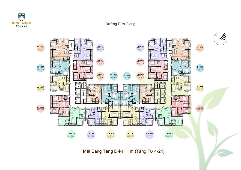 mặt bằng chung cư bình minh garden tầng 4-24