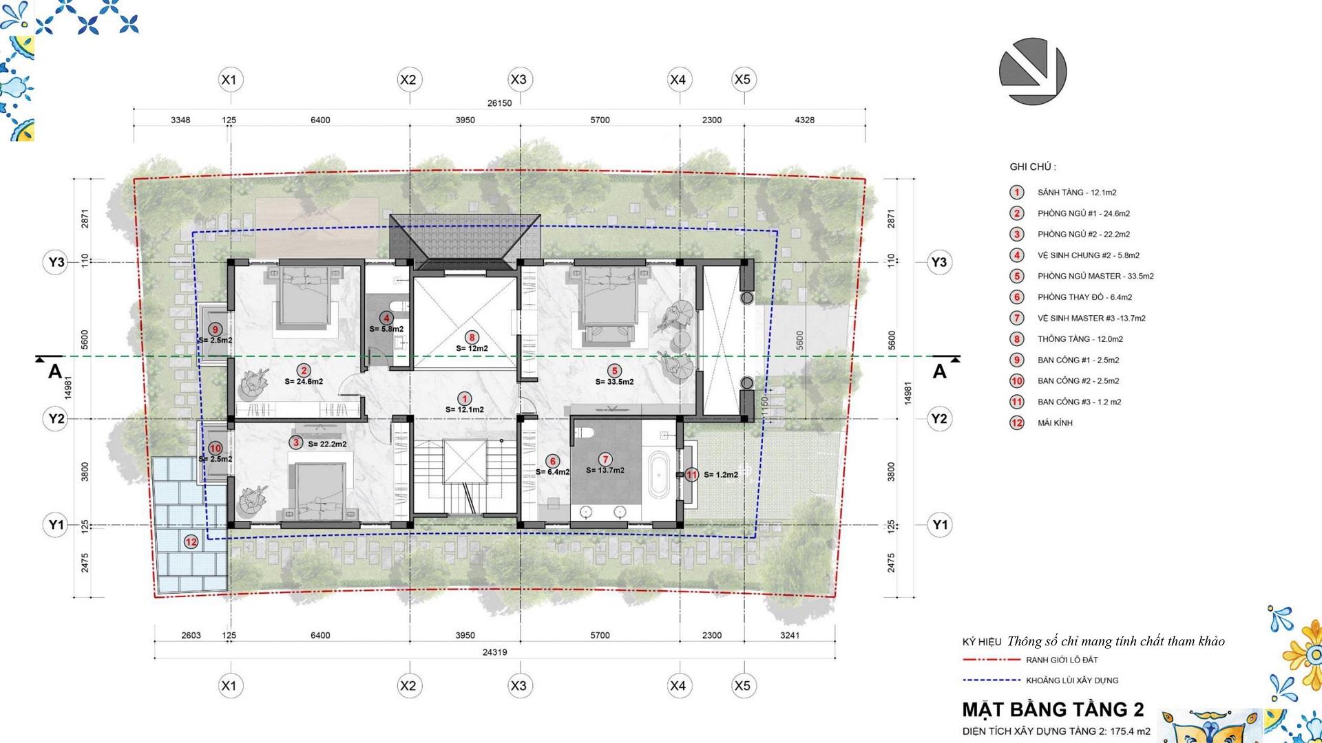 mặt bằng biệt thự đơn lập tầng 2