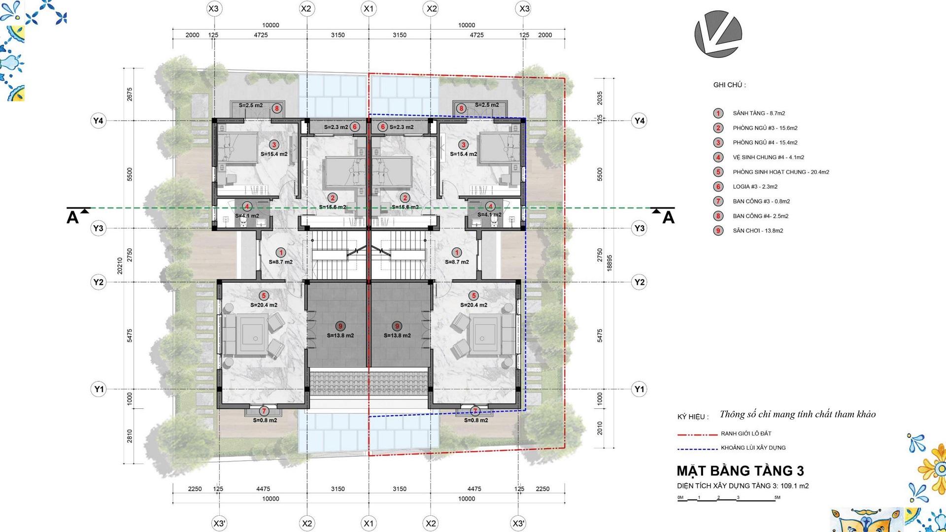 mặt bằng biệt thự song lập tầng 3