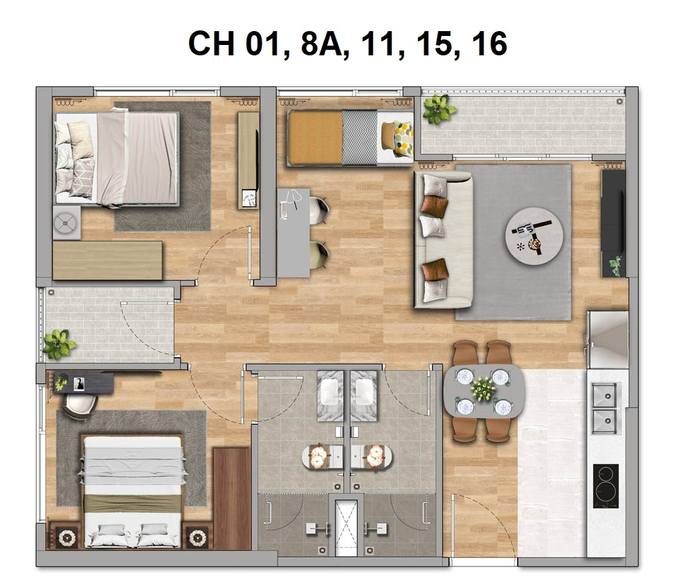 Thiết kế căn hộ 2 phòng ngủ (2PN, 2WC)